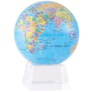 "6"" Blue with Political Map MOVA Globe with Medium Crystal Base"