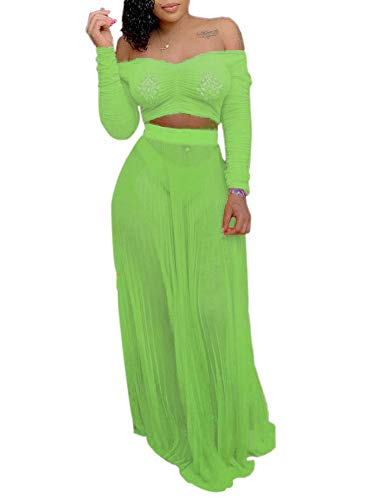 Women's Sexy Summer 2 Piece Maxi Mesh Dress Crop Top Skirt Set Beachwear Off Shoulder 2 Piece Outfit Green - Set Mesh Skirt