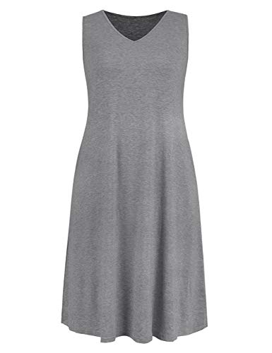 - Ivicoer Women Summer Plus Size V Neck Sleeveless Tank Dress with Pocket(L-4XL) (3XL, Gray)