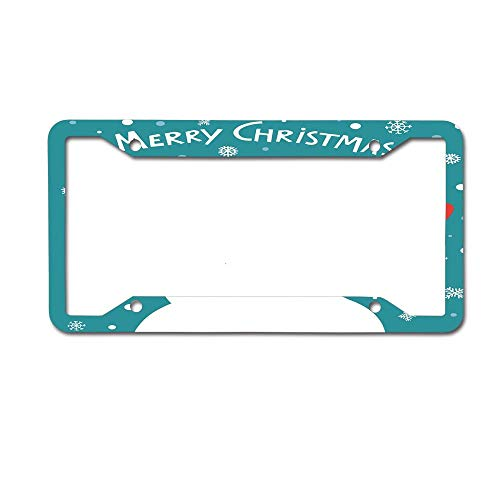 Kuytresdf Merry Christmas Typography with Tongue Out Snowman Snowflake Happy Winter Image Begins Logo Car Tag on Aluminum License Plate Frame 4 Holes ()