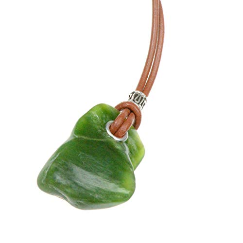 (Natural Jade Stone Artisan Pendant Necklace with Saddle Tan Leather Cord Brings Good Luck Longevity )