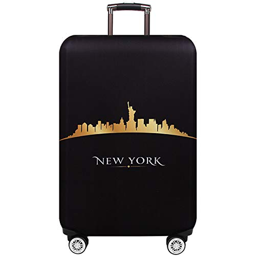TRAVELKIN Washable Travel Gear Cover, Thickened Luggage Cover, 18/24/28/32 Inch Suitcase Spandex Protective Cover (S(18″-21″luggage), New York)