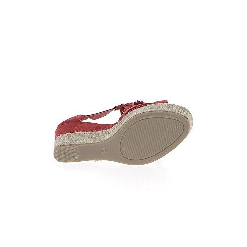 Rosso tacco zeppa sneakers 9cm aspetto in pelle scamosciata con frange