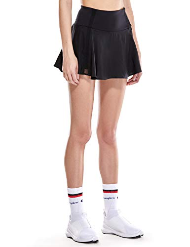 CRZ YOGA Women's Active Sport Skirted Shorts Pleated Tennis Golf Skirt with Pockets Black M(8/10)