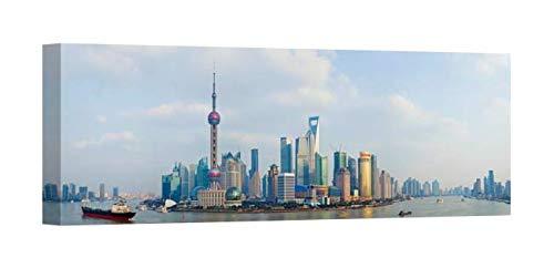 (Easy Art Prints Panoramic Images's 'Buildings at The Waterfront, Pudong, Huangpu River, Shanghai, China' Premium Canvas Art 24 x 8)