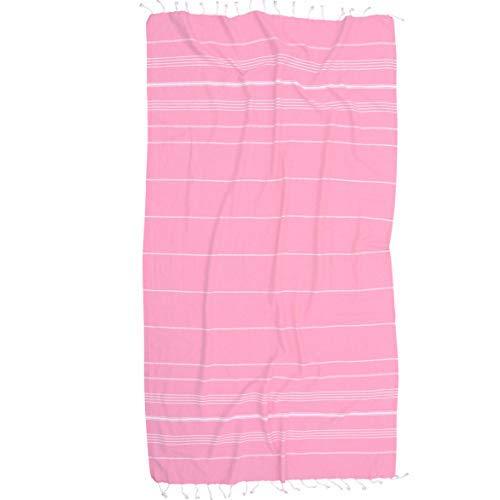 The Riviera Towel Company Peshtemal Hammam Fouta Cotton Turkish Beach and Bath Towel, Hot Pink (Suitcase Hot Pink)