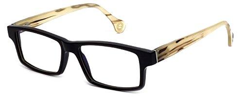 s Buffalo Horn Designer Reading Glasses CEBH120 in Grey Horn & Tan Horn +1.25 (Buffalo Horn Frames)