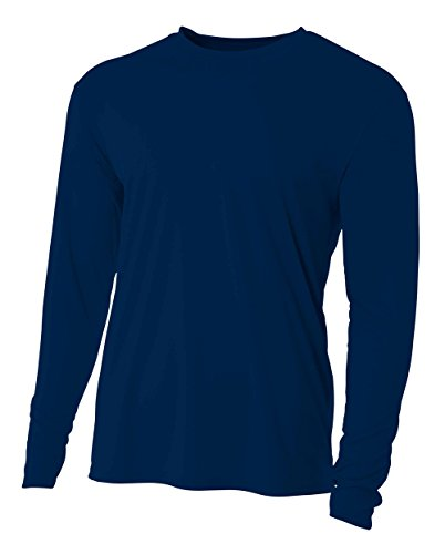 (A4 Men's Cooling Performance Crew Long Sleeve T-Shirt, Navy, Large)