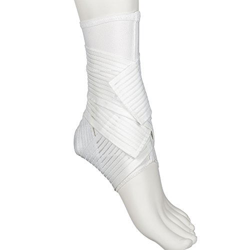 (Active Ankle 329 Ankle Brace, White Ankle Compression Sleeve with Straps for Men & Women, Braces for Volleyball, Football, Basketball, Rugby, Protection & Sprain Support, Large)
