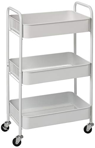 CAXXA 3-Tier Rolling Metal Storage Organizer - Mobile Utility Cart with Caster Wheels, White (White Rolling Cart Metal)