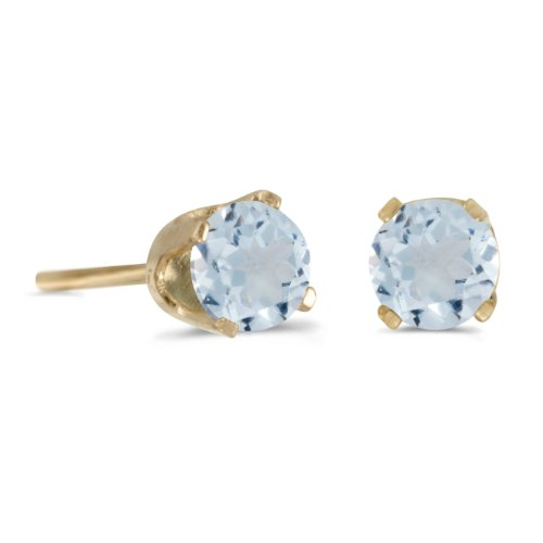 Yellow Gold Genuine Aquamarine Earrings - 8