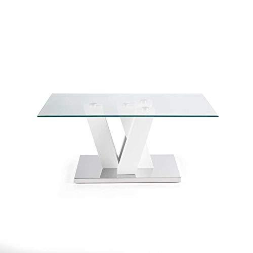 Mocada Yuri Tavolino da Salotto in Legno Acciaio e Cristallo Soggiorno  Design - Bianco Frassinato