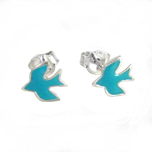 Sterling Silver Enameled Swallow Bird Stud Post Earrings, Robin Egg Blue (Swallow Ring)