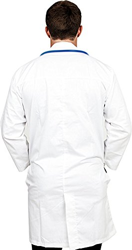 Professional Men Lab Coat (White, Small) For Laboratory With 5 Button Closure, 41 Inch Kick Pleat – Poly Cotton Material by Utopia Wear (Image #2)