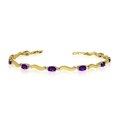 2.07 Carat (ctw) 10K Yellow Gold Oval Purple Amethyst and Diamond Tennis Bracelet - 7