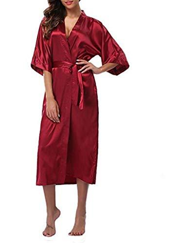 Women Silk Satin Long Robe Feminino Bath Robe Large Size XXXL Peignoir Femme Sexy Bathrobe,Wine red,S