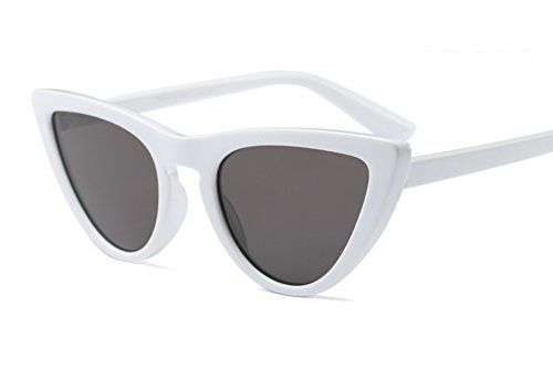 Freckles Mark Thin Narrow Skinny Plastic Semi Cat Eye Triangle Women Sunglasses (White, - Hollywood Sunglasses