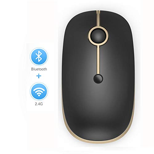 Bluetooth Mouse, Jelly Comb Slim Dual Mode(Bluetooth 4.0 + USB) 2.4GHz Wireless Bluetooth Mouse for Laptop, MacBook, PC - Gold and Black