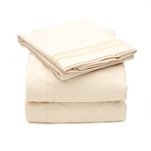 Sweet Home Collection 2000 All Size 12 Colors Collection 4-Piece Egyptian Quality Deep Pocket Bed Sheet Set, King, Beige