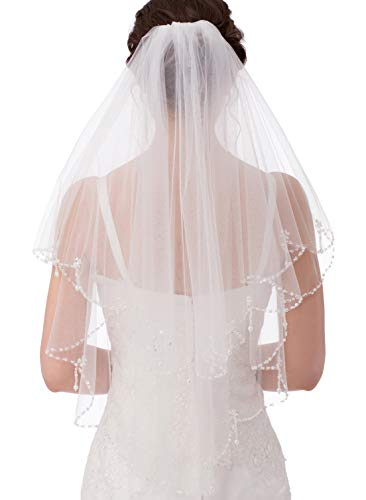 Emondora 2T Short Sequin Pearl Edge Crystals Beaded Bling Wedding Bridal Veil - Beaded Bridal Veil
