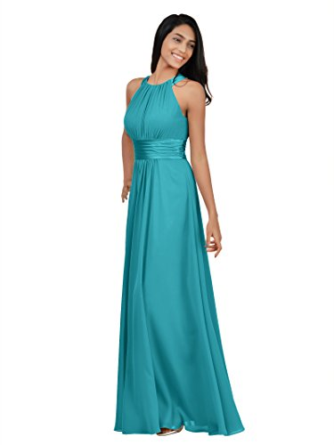 Alicepub Bridesmaid Dresses Long for Women Formal Halter Maxi Evening Dress Empire Party Prom Gown, Turquoise, US14
