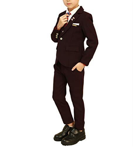 Classic Boys Blazer - Toddler Boys' 3 Piece Classic Fit No Tail Formal Dress Suit Set with Blazer Pants and Vest Size 7T Purple 130 cm