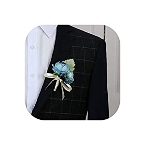 Artificial Silk Flower Head Blue Groom Boutonniere Man Bride Wrist Corsage Hand Wedding Flowers Party Decoration 104