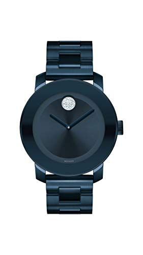Women's Bold Iconic Metal Blue PVD Watch with a Flat Dot Sunray Dial, Blue (Model ) - Movado 3600388