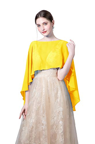 Baiqiya Wedding Capes Womens Soft Chiffon Shrug Bridal Long Shawl and Wraps (Yellow Gold) -