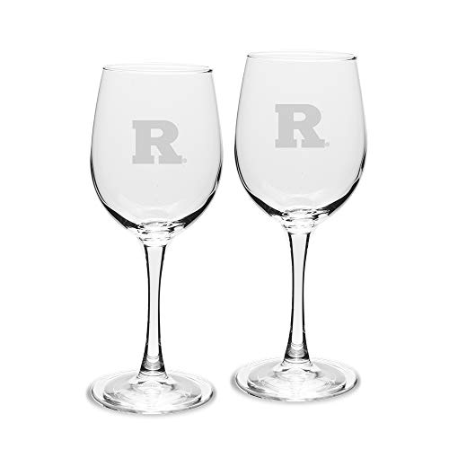 (NCAA Rutgers Scarlet Knights Adult Set of 2 - 12 oz White Wine Glasses Deep Etch Engraved, One Size, Clear)