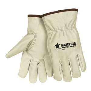 MCR Safety 3460XL Artic Jack Thinsulate Premium Grain Pigskin Thermosock Lined Driver Gloves with Keystone Thumb, Cream, X-Large, 1-Pair - Lined Pigskin Driver