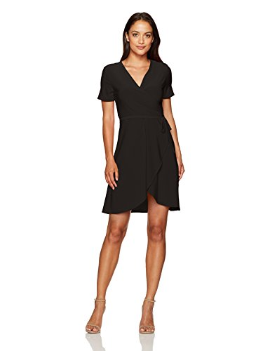 Petite Little Black Dress - Star Vixen Women's Petite Short Sleeve Ballerina Wrap Dress, Black, PS
