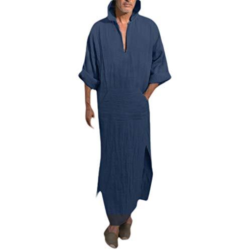 SportsX Men Islamic Loose Hooded Linen Plus-Size Muslim Kaftan Maxi Dress Blue L
