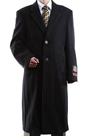 Men's Single Breasted Black Wool Cashmere Full Length
