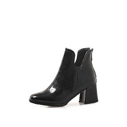 HOESCZS 2019 Charol Moda Mujer Zapatos Plataforma Cuadrado Zapatos de Invierno de tacón Alto Cremallera Sólido