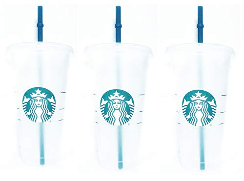 (Starbucks Reusable 3 Hard Plastic Venti 24 oz Frosted Ice Cold Drink Cup With Lid and Green Straw w/Stopper)