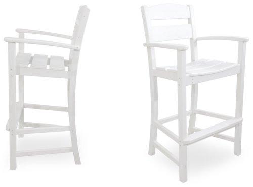 Ivy Terrace IVS110-1-WH Classics 2-Piece Bar Arm Chair Set, White