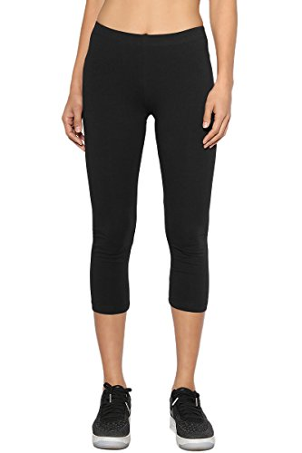 TheMogan Women's Plain Cotton Spandex Capri Crop Leggings Black S Low Rise Capri Leggings Pants
