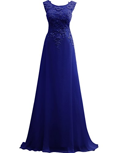 Evening Lace JAEDEN Dress Appliques Prom Chiffon Royal Long Party Sleeveless Blue Dress w6xxYOfFq