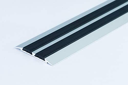 Flat Threshold Carpet Door Aluminium Rubber 45mm X 2m 6 56ft Floor Edging Bar Trim Strip Tmw Profiles Silver Amazon Co Uk Diy Tools