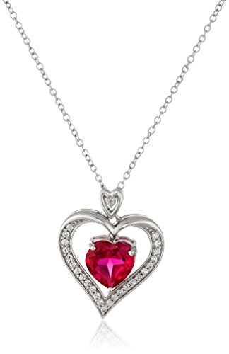 Sterling Silver Created Ruby Heart with Created White Sapphire Pendant Necklace, -