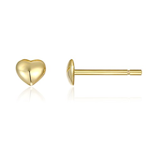 PAVOI 14K Gold Plated Valentines Heart Stud Earrings - Yellow ()