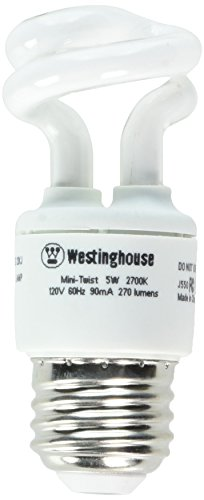 Westinghouse 3667000, 5 Watt CFL Light Bulb, (25W Equal) 2700K Soft White 82 CRI 270 Lumens - Twist 2700k Light Bulb