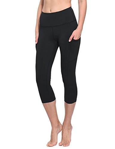 (Baleaf Women's High Waist Tummy Control Yoga Workout Capris Leggings Side Pockets Black Size L)