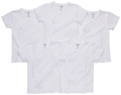 Carter's 5-Pack Side Snap Tee - White- 6 - Tee Kimono Short Sleeve