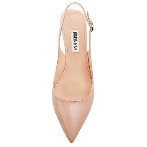 June in Love Womens Kitten Heels Pumps Pointy Toe Slingback Shoes For Usual Daily Wear Nude 3HmtZDVH