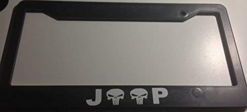 Mark Reynolds Jeep with Skulls - Automotive Black License Plate Frame - Off Road Wrangler Punisher