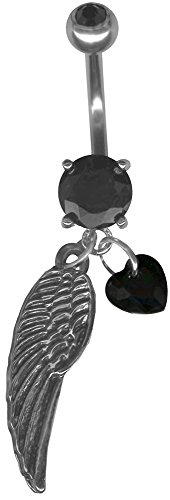 BodySparkle Body Jewelry Black Angel Wing Belly Ring-Black CZ Heart-Feather Angel Wing Dangle Belly Button Navel Ring-14g
