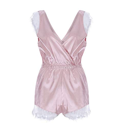 Plus Size Women Solid Lace Hollow Out Romper Comfortable Scalloped Trim Lace Jumpsuit Sleepwear Lace Babydoll (Pink, S)