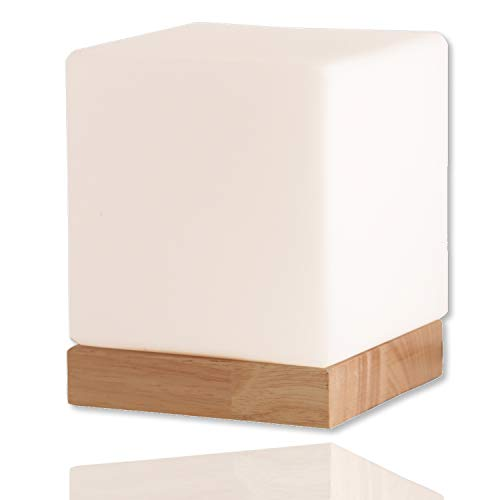 Felix Glass Square Table Lamp - Bedside Lamp - Nightstand Lamp - Small Lamp - Glass Cube Accent Lamp - Glass Shade with Natural Wooden Base (Glass Table End Cube)